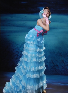 A-Line Ball Gown Notched Long / Floor-Length Taffeta Organza Prom Dress H7081-2