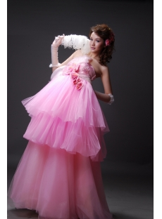 A-Line Ball Gown One Shoulder Long / Floor-Length Satin Tulle Prom Dress 2210