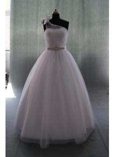 A-Line Ball Gown One Shoulder Natural Waist Satin Wedding Dress 04927