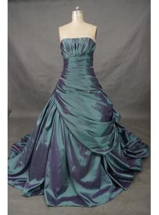 A-Line Ball Gown Princess Bateau Strapless Natural Waist Taffeta Wedding  01518