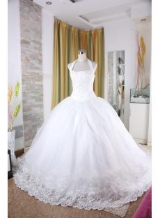 A-Line Ball Gown Strapless Dropped Satin Organza Wedding Dress 5327