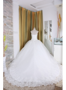 A-Line Ball Gown Strapless Dropped Satin Organza Wedding Dress 5327