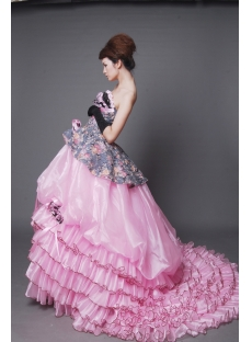 A-Line Ball Gown Strapless Long / Floor-Length Satin Organza Quinceanera Dress 2212