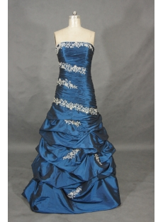 A-Line Ball Gown Strapless Long / Floor-Length Taffeta Prom Dress 01458