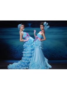 A-Line Ball Gown Strapless Sweetheart Long / Floor-Length Taffeta Organza Prom Dress H7081-1