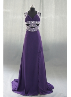 A-Line Halter Long Floor-Length Chiffon Evening Dress 04152