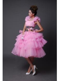 A-Line Jewel Knee-Length Satin Graduation Dress 2212-3
