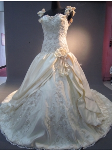 A-Line Non-Strapless Satin Plus Size Wedding Dress 2203