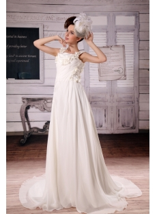 A-Line/Princess Square Neckline Floor-Length Chiffon Wedding Dress With Ruffle Beadwork F-088