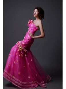 A-Line Princess Strapless Long / Floor-Length Satin Organza Quinceanera Dress Y010