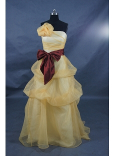 A-Line Princess Strapless Sweetheart Floor-Length Satin Organza Prom Dress 01391