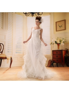 A-Line/Princess Sweetheart Chapel Train Satin Wedding Dress With Ruffle Beadwork F-075
