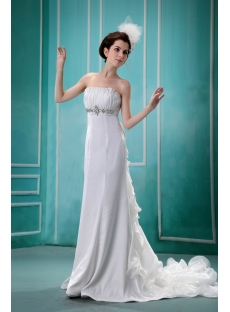A-Line/Princess Sweetheart Floor-Length Chiffon Wedding Dress With Ruffle F-076