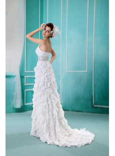 A-Line/Princess V-neck Cathedral Train Chiffon Wedding Dress With Ruffle Crystal F-112