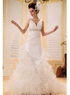 A-Line/Princess V-neck Court Train Chiffon Wedding Dress With Ruffle Beadwork F-077