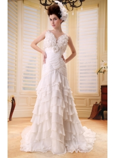 A-Line/Princess V-neck Court Train Chiffon Wedding Dress With Ruffle Beadwork F-091