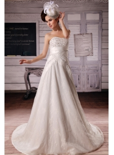 A-Line Strapless Chapel Train Satin Tulle Wedding Dress With Lace Beadwork