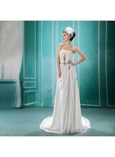 A-Line Strapless Court Train Chiffon Wedding Dress With Ruffle Beadwork