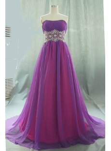 A-Line Strapless Long / Floor-Length Chiffon Elastic Silk-like Satin Evening Dress 05540