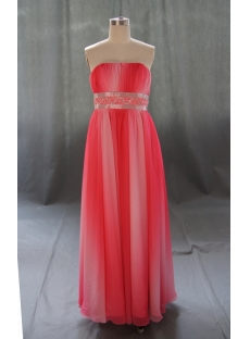 A-Line Strapless Long Floor-Length Chiffon Elastic Silk-like Satin Evening Dress 05364