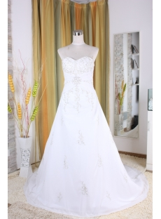A-Line Strapless Sweetheart Empire Chiffon Satin Wedding Dress 5340