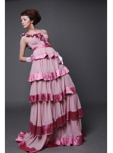 A-Line Strapless Sweetheart Long / Floor-Length Chiffon Elastic Silk-like Satin Prom Dress H2231-1