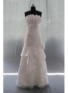 A-Line Strapless Sweetheart Natural Waist Taffeta Wedding Dress 04937