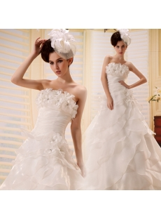 A-Line Sweetheart Asymmetrical Organza Wedding Dress With Flower(s)