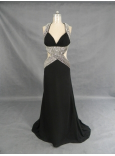 A-Line V-Neck Long / Floor-Length Chiffon Elastic Silk-like Satin Evening Dress 2253