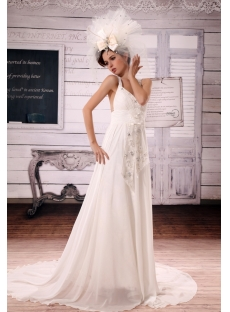 A-Line V-neck Court Train Chiffon Wedding Dress With Ruffle Beadwork