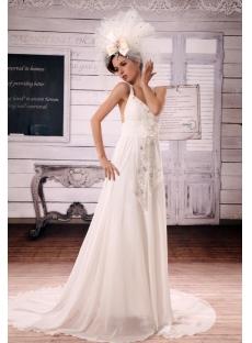 A-Line V-neck Court Train Chiffon Wedding Dress With Ruffle Beadwork