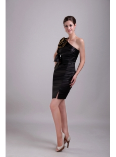 Asymmetrical Black Satin Celebrity Dress 1341