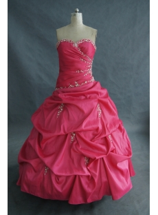 Ball Gown Floor-Length Taffeta Quinceanera Dress With Embroidered Beading 01674