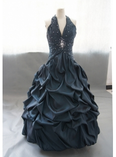 Ball-Gown Halter Floor-Length Satin Sequined Quinceanera Dress With Ruffle 02537