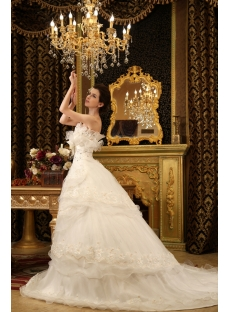 Ball-Gown One-Shoulder Cathedral Train Organza Wedding Dress With Ruffle Flower(s) H-142