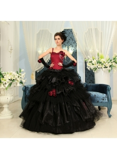 Ball-Gown One-Shoulder Floor-Length Organza Quinceanera Dress H-114