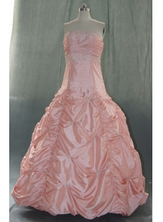 Ball Gown Princess Bateau Strapless Floor-Length Taffeta Quinceanera Dress 06334