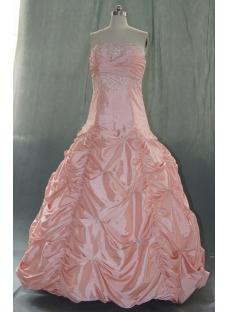 Ball Gown Princess Bateau Strapless Floor-Length Taffeta Quinceanera Dress 06334