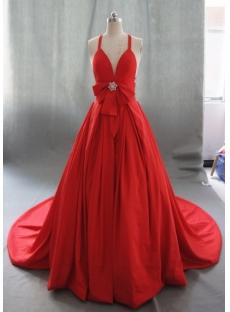 Ball Gown Princess Halter V-Neck Taffeta Wedding Dress 05019