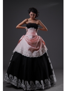 Ball Gown Princess Long / Floor-Length Taffeta Organza Quinceanera Dress 2224-1