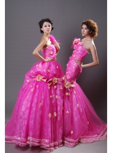 Ball Gown Princess Long / Floor-Length Taffeta Organza Quinceanera Dress Y009