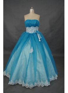 Ball Gown Princess Strapless Floor-Length Satin Organza Cheap Quinceanera Dress 01483