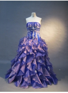 Ball Gown Princess Strapless Floor-Length Satin Organza Quinceanera Dress 1574
