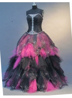 Ball Gown Princess Strapless Floor-Length Satin Organza Quinceanera Dress 1671