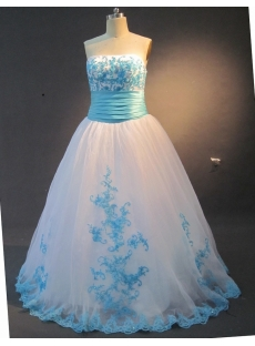 Ball Gown Princess Strapless Floor-Length Taffeta Organza Quinceanera Dress 2120