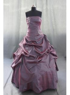 Ball Gown Princess Strapless Floor-Length Taffeta Quinceanera Dress 05434