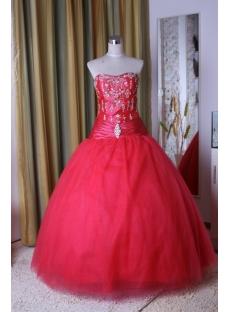 Ball Gown Princess Strapless Floor-Length Taffeta Tulle Quinceanera Dress 5297