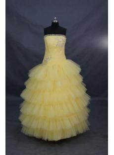 Ball Gown Princess Strapless Long / Floor-Length Satin Organza Quinceanera Dress 00596