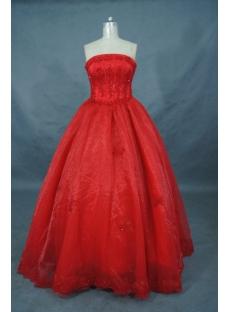 Ball Gown Princess Strapless Long / Floor-Length Satin Organza Quinceanera Dress 01507