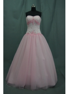 Ball Gown Princess Strapless Long / Floor-Length Satin Tulle Quinceanera Dress 06367